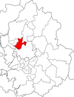 Map of Gyeonggi highlighting Deogyang-gu.