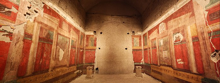 Fresco paintings inside the House of Augustus, his residence during his reign as emperor. Domus-augusti-2.jpg