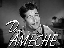 O actor estatounitense Don Ameche, en una scena d'a cinta The Feminine Touch (1941).