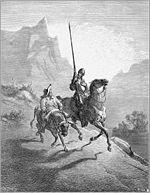 Le héros de Cervantes, Don Quichotte avec son fidèle Sancho Pansa, d'après une illustration de Gustave Doré