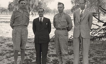 After the signing at Cassibile on 3 September 1943. From left to right: Kenneth Strong, Castellano, Walter Bedell Smith and Franco Montanari. Dopo la firma dell'armistizio 3 settembre 1943.jpg