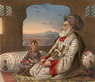 European influence in Afghanistan - King Dost Mohammad Khan with one of his sons.
