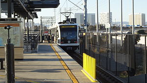 Metro Green Line train leaving Douglas Station.