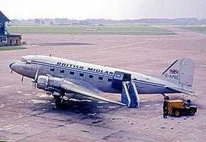British Midland International - Douglas C-47 Dakota wearing British Midland's initial colour scheme in 1965.