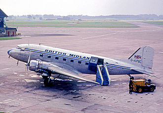 British Midland International - Douglas C-47 Dakota wearing British Midland's initial colour scheme in 1965.