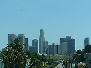 Downtown Los Angeles from US 101 toward downtown