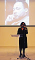 Dr. Gwendolyn Magby gives the invocation during a Dr. Martin Luther King Jr 140117-N-YB753-013.jpg