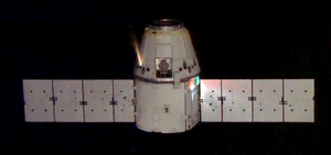 Draco (rocket engine family) - A SpaceX Dragon spacecraft approaching the International Space Station fires one of its 18 Draco thrusters.