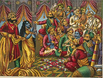 Pandava - Draupadi is presented in a parcheesi game where Yudhishthira has gambled away all his material wealth.