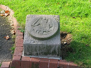 Gervase Paganell -  A stone carving showing the seal of Gervase Paganell, situated near the ruins of Dudley Priory