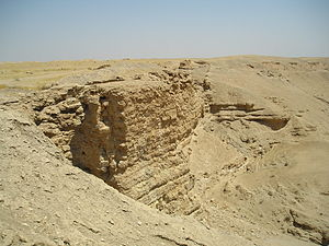 Dura-Europos - A view of the southern wadi and part of the walls of the city of Dura Europos.