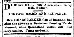 Durham Hall, Surry Hills - Advertisement for a boarding house at Durham Hall 1894