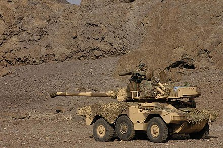 An ERC 90 Sagaie of the reconnaissance squadron of the 13th half-brigade of the Foreign Legion near Djibouti in 2005