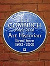 E H GOMBRICH Art historian lived here 1952-2001.jpg
