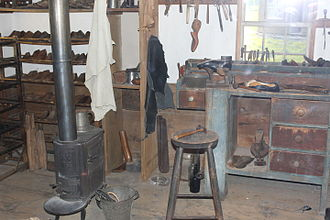 Shoemaking - Early shoemaking shop on exhibit at Maine State Museum in Augusta, Maine.