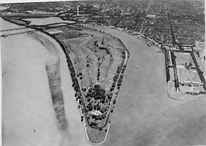 Washington Channel - Aerial view from the south of East Potomac Park and the Washington Channel, ca. 1935.
