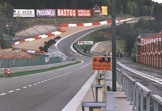 Circuit de Spa-Francorchamps - Eau Rouge and Raidillon in 1997, with a maximum gradient in excess of 18%