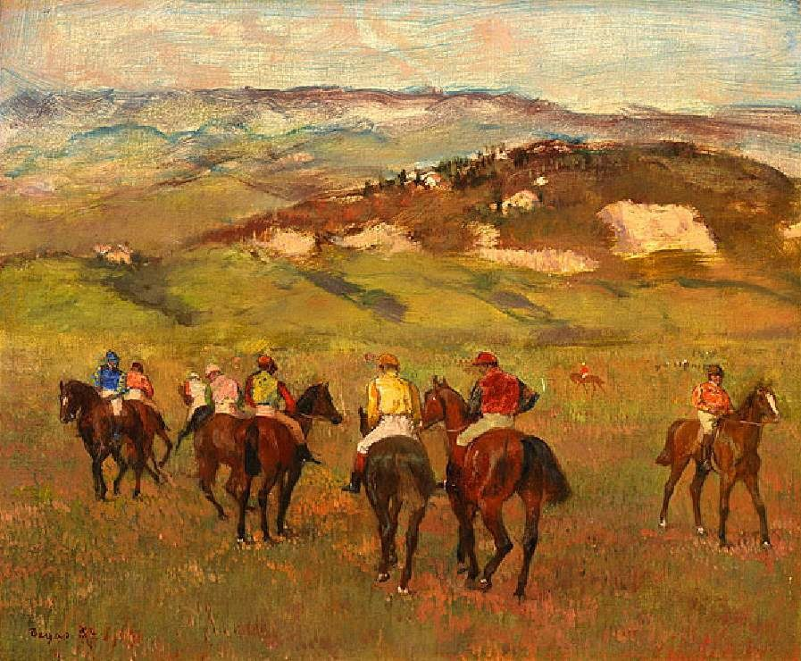 Edgar Degas - Jockeys on Horseback before Distant Hills