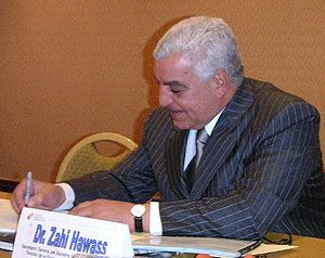 Zahi Hawass - Zahi Hawass signing a book in Mexico City, August 2003.