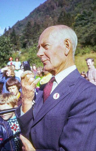 Einar Gerhardsen - Gerhardsen at a political rally in Bergen in the late 1960s