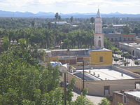 El Fuerte, Sinaloa, church and plaza, seen from the fort.JPG