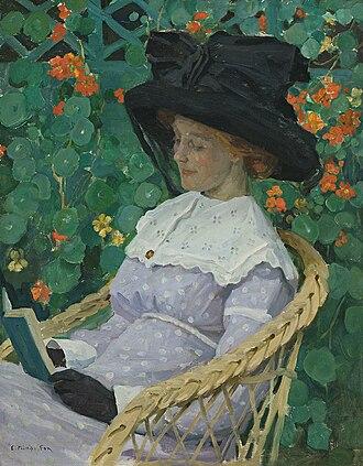 Edith Susan Gerard Anderson - Nasturtiums, by Emmanuel Phillips Fox, featuring Edith Susan Gerard Anderson (1912)