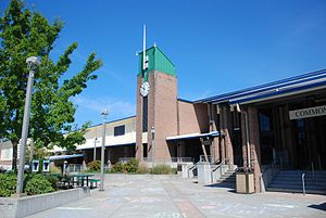 Emerald Ridge High School - The clock tower and Commons entrance