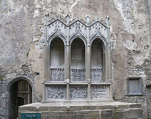 Ennis Friary - 19th-century Creagh family tomb, using 15th-century reliefs from older tombs