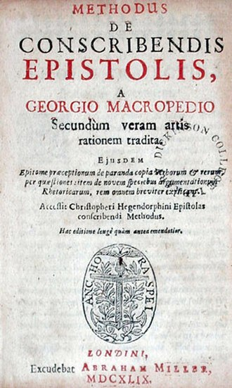Macropedius -  Title page of Macropedius' Methodus de Conscribendis Epistolis, printed in 1649 by Abraham Miller in London, 106 years after the first edition. Dickinson College, Carlisle, Pennsylvania, USA.
