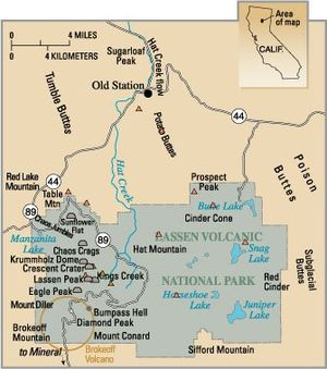 Map with large green area marked as Lasson Volcanic National Park with a circle is on the lower left corner. Other features, such as Chaos Crags, Brokeoff Mountain, Bumbass Hell and Cinder Cone are also labelled.