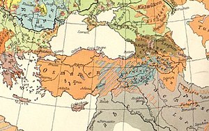 Armenian Genocide - German ethnographic map of Asia Minor and Caucasus in 1914. Armenians are labeled in blue.
