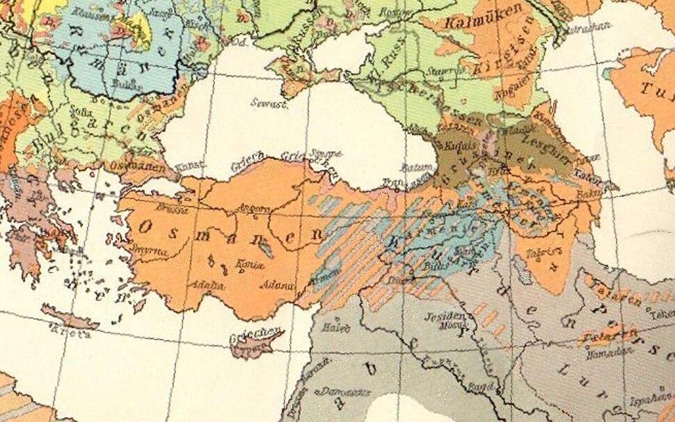 Ethnic map of Asia Minor and Caucasus in 1914