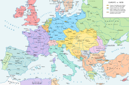 Europe after the Congress of Berlin in 1878 and the territorial and political rearrangement of the Balkan Peninsula. Europe 1878 map en.png