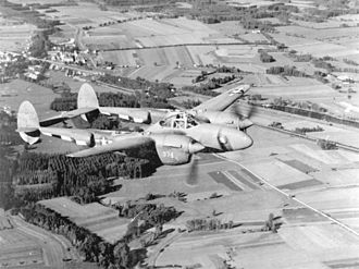 Clifton Hampden - USAAF Lockheed P-38F Lightning similar to that from RAF Mount Farm which crashed at Clifton Hampden