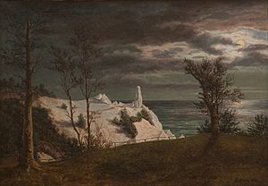 "Frederik Sødring - Image: F. Sødring The ""Summer Spire"" on the Chalk Cliffs of the Island Møn. Moonlight Google Art Project"