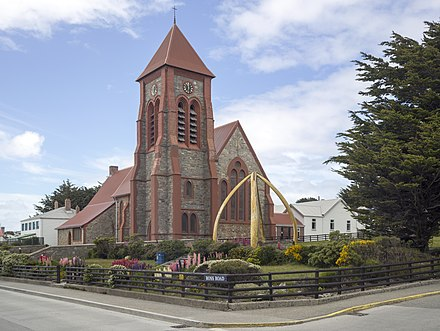 Christ Church Cathedral, the local parish church of the Anglican Communion. Most Falklanders identify themselves as Christian. FAL-2016-Stanley, Falkland Islands-Christ Church Cathedral.jpg