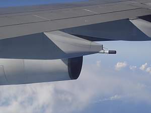 Fuel dumping - Fuel dump nozzle of an Airbus A340-300