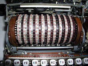 Cryptanalysis - Close-up of the rotors in a Fialka cipher machine