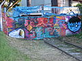 Factory railway gate graffiti, Brno.JPG