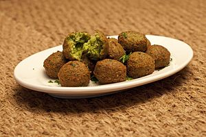 Falafel - Despite the frying process, the inside of a falafel ball remains soft.