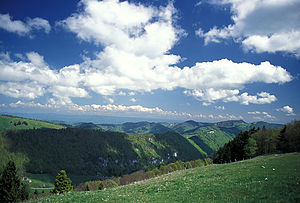 Mittelgebirge - View over the Jura Mountains near Passwang Pass to the Black Forest