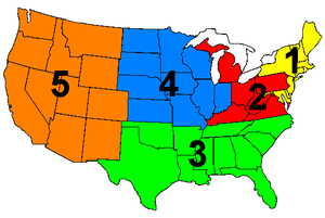 General Order 40 - Five U.S. zones used to help ensure stations were equally allocated as required by the Davis Amendment