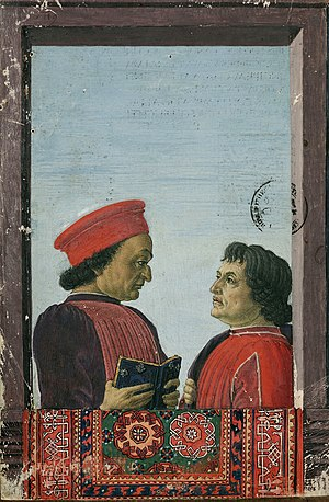 Federico da Montefeltro - Federico Montefeltro with humanist writer Cristoforo Landino, in an example of Oriental carpets in Renaissance painting, 15th century
