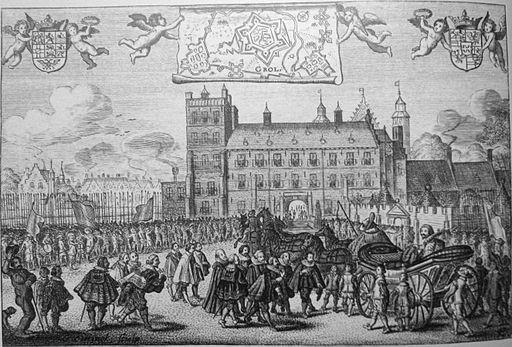 Feestelijke ontvangst van Frederik Hendrik op het buitenhof te 's-Gravenhage
