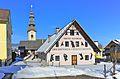 Feistritz im Rosental Suetschach Gasthaus Helene Weisitsch und Pfarrkirche 31122010 863.jpg