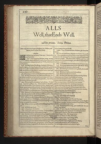All's Well That Ends Well - The first page of All's Well that Ends Well from the First Folio of Shakespeare's plays, published in 1623.