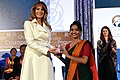 First Lady Melania Trump Poses for a Photo With International Women of Courage Awardee Sharmin Akter of Bangladesh (33338548970).jpg