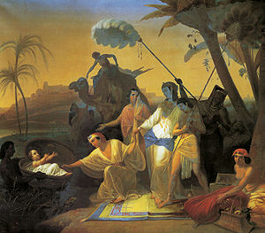 Moses in rabbinic literature - Finding of the baby Moses, by Konstantin Dmitriyevich Flavitsky