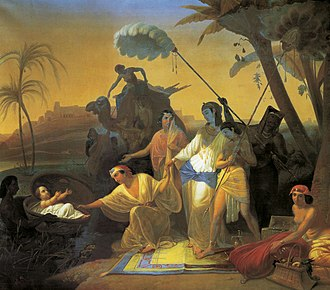 Ark of bulrushes - A painting by Konstantin Flavitsky of Pharaoh's daughter finding Moses, who is in a basket.