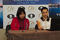 Fondation Neva Women's Grand Prix Geneva 11-05-2013 - Ju Wenjun and Alexandra Kosteniuk during the press conference.jpg